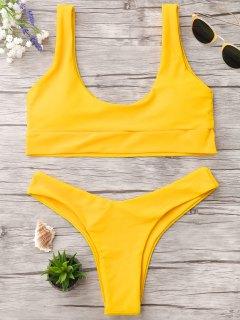 U-Ausschnitt Bralette String Bikini - Helles Gelb M