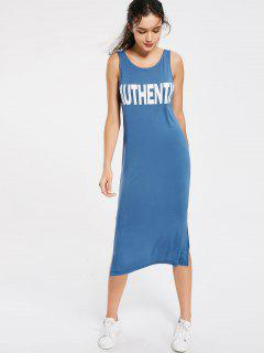 Letter Slit Casual Midi Dress - Blue L