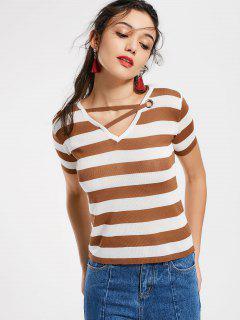 Camiseta De Punto Con Rayas Y Cuello En V - Caqui