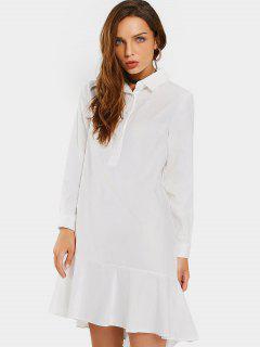 Ruffled Hem Half Buttoned Casual Dress - White M