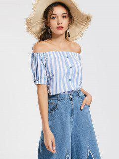 Off The Shoulder Buttons Striped Blouse - Light Blue M