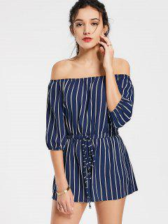 Off The Shoulder Self Tie Striped Romper - Purplish Blue S