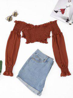 Smocked Chiffon Off The Shoulder Cover-up - Brick-red S