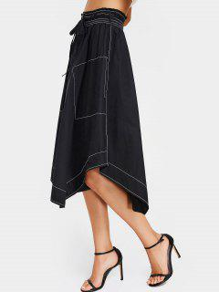 Button Up Asymmetrical Midi Skirt - Black S