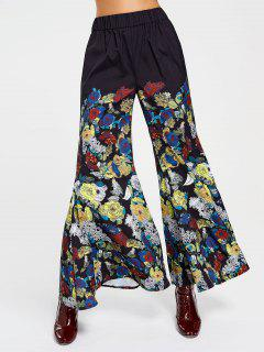 High Waisted Floral Bell Bottom Pants - Floral S