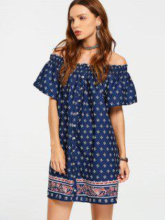 Button Up Printed Off Shoulder Mini Dress - Purplish Blue S