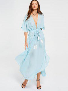 Chiffon Belted Tassels Maxi Dress - Light Blue S