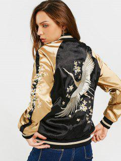 Floral Embroidered Double Side Souvenir Jacket - Black S