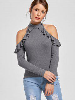 Ruffle Cold Shoulder Fitted Top - Gray 2xl