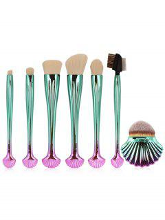 7Pcs Plating Shell Ombre Cepillos De Maquillaje Set - Blanco
