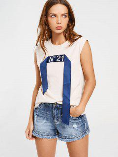 Sleeveless Ribbon Patched Top - Off-white
