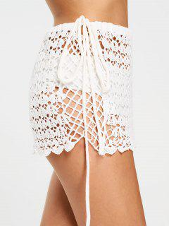 Scalloped Crochet Sheer Mini Skirt - White