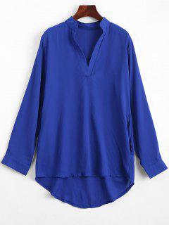 V Neck Plain High Low Blouse - Bleu L