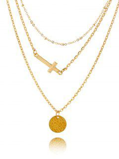 Crucifix Circle Disc Pendant Layered Necklace - Golden