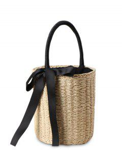 Cylinder Shaped Straw Ribbon Tote Bag - Beige
