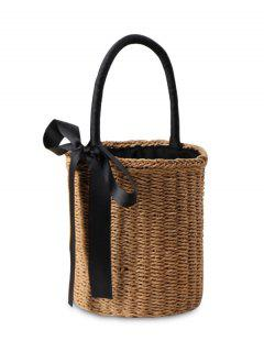 Cylinder Shaped Straw Ribbon Tote Bag - Camel