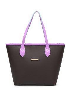Faux Leather Metal Embellished Shoulder Bag - Purple