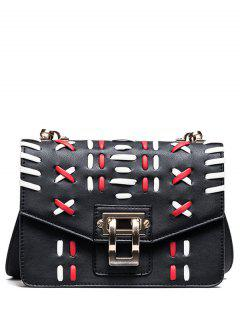 Weave Color Block Crossbody Bag - Black