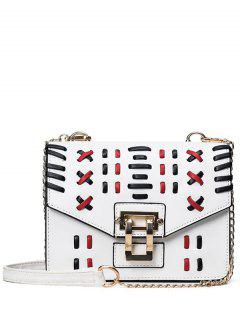 Weave Color Block Crossbody Bag - White