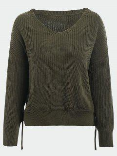 V Neck Side Lace Up Sweater - Army Green