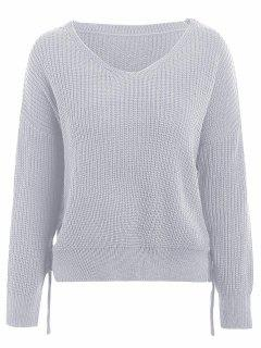 V Neck Side Lace Up Sweater - Light Grey