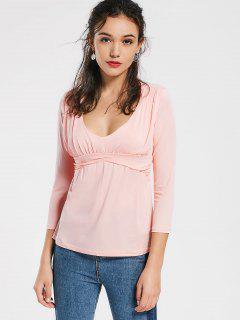 T-shirt Simple Drapé Col Plongeant - Rose PÂle Xl