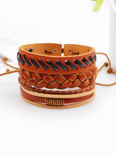 Vintage Woven Faux Leather Bracelets Set - Brown