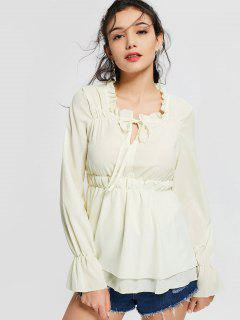 Ruffled Neck Flare Sleeve Tiered Blouse - Off-white M