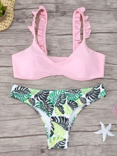 Ruffle Trim Scoop Neck Printed Bikini Set - Pink L