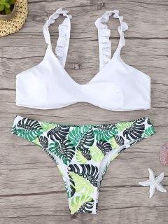 Ensemble Bikini Imprimé à Volants à Encolure Dégagée - Blanc M