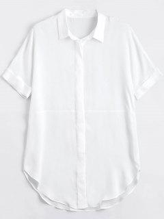 Button Up Plain Longline Shirt - White M