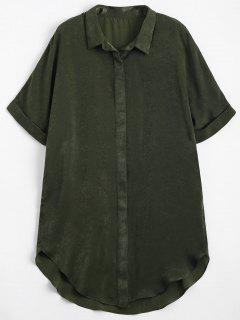 Button Up Plain Longline Shirt - Army Green S