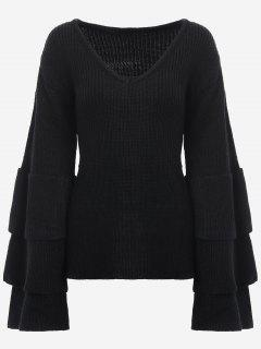 V Neck Tiered Flare Sleeve Sweater - Black
