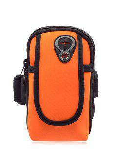 Polyester Colour Block Running Arm Bag - Bright Orange