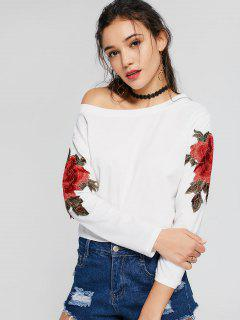 Skew Collar Floral Patched Tee - White M
