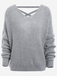Back Lace Up Drop Shoulder Sweater - Gray