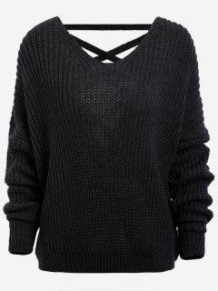 Back Lace Up Drop Shoulder Sweater - Black