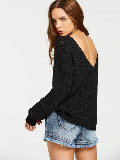 Back V Oversized Chunky Sweater - Black