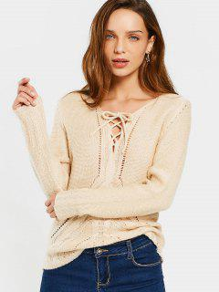 Sheer V Neck Lace Up Sweater - Apricot L