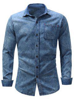 Turndown Collar Pocket Bleached Effect Chambray Shirt - Denim Blue 3xl