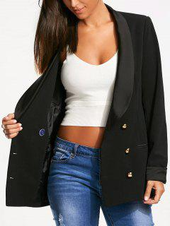 Back Slit Lapel Blazer With Double Breasted - Black Xl