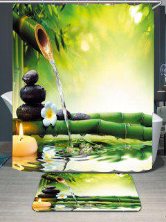 Flowing Water Bamboo Waterproof Shower Curtain Rug Set - Green W79 Inch * L71 Inch