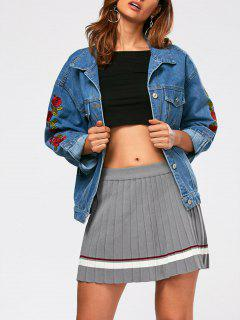 Drop Shoulder Rose Embroidery Jean Jacket - Blue L