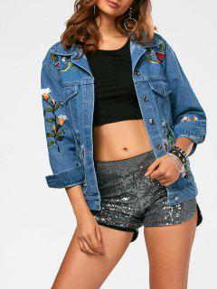Button Up Flower Embroidery Denim Jacket - Blue L