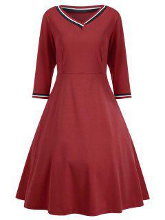 Vestido Con Cuello En V De Tres Cuartos - Rojo S