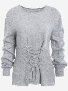 Lace Up Long Sleeve Sweater - Gray