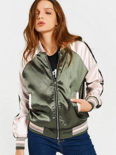 Raglan Sleeve Zip Up Baseball Jacket - Army Green M