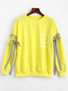 Hollow Out Bowknot Embellished Letter Sweatshirt - Yellow