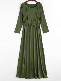 Round Collar Long Sleeve Maxi Dress - Army Green M