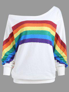 Rainbow Print Plus Size One Shoulder Top - White 5xl